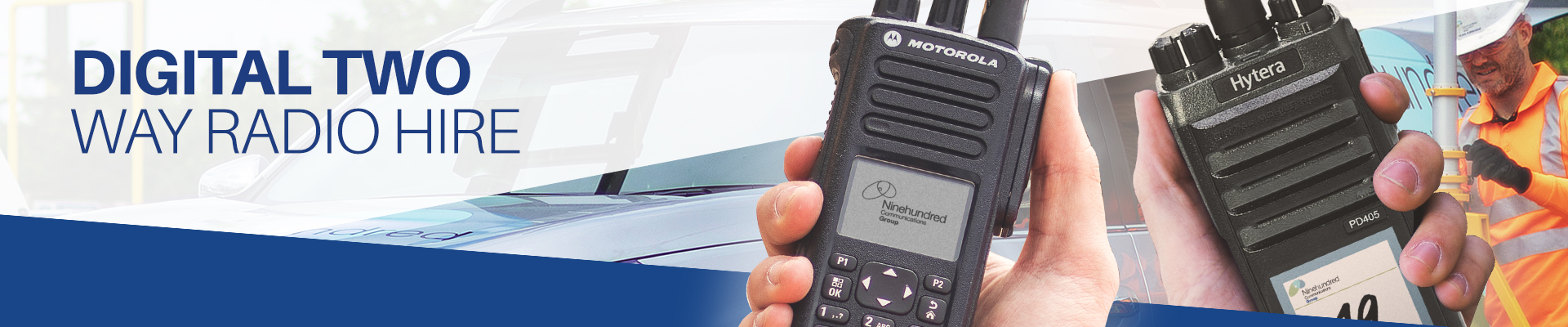 Digital two way radio hire banner image